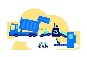 illustration vectorielle de gestion des déchets concept plat vecteur
