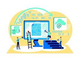 illustration vectorielle de données cloud stockage concept plat vecteur