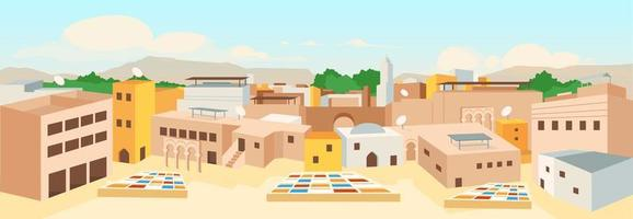 illustration vectorielle de vieille ville arabe couleur plat vecteur