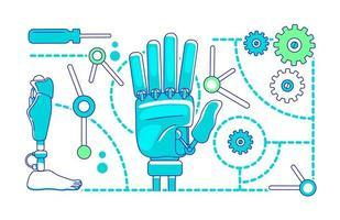 prothèses, illustration de ligne mince bionique