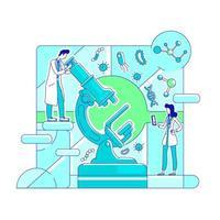 microbiologie, illustration vectorielle de biotechnologie fine ligne concept vecteur