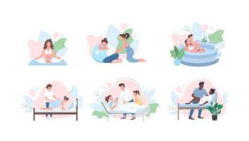 jeu de caractères sans visage vecteur couleur plat soins prénataux