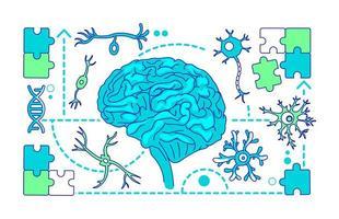neurologie, illustration vectorielle de neuroscience fine ligne concept