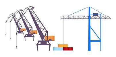 ensemble d & # 39; objets vectoriels couleur plat grues industrielles
