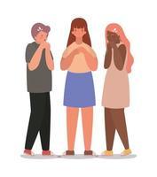 avatars de filles et de garçons avec conception de vecteur de toux sèche
