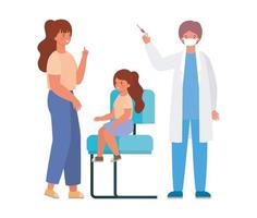 médecin de sexe masculin vaccinant la conception de vecteur fille et mère