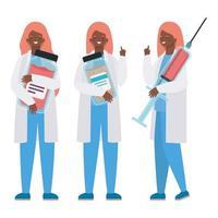 femmes médecins avec injection uniformes et conception de vecteur de pots de médecine