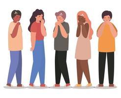 avatars filles et garçons avec conception de vecteur de toux sèche