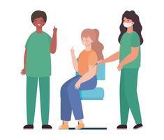 médecins masculins et féminins vaccinant la conception de vecteur de femme