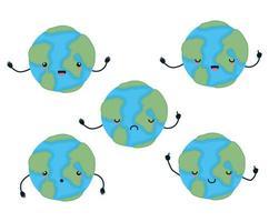 ensemble de conception de vecteur de dessins animés de sphères du monde kawaii