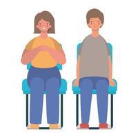 femme heureuse et homme dessin animé assis sur la conception de vecteur de sièges