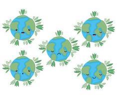 Ensemble de dessins animés de sphères du monde kawaii avec dessin vectoriel de feuilles