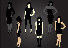 silhouette six mujer vecteur