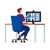 homme dans une vidéoconférence sur le lieu de travail