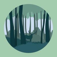 Forêt abstraite avec l'illustration de cerfs vecteur