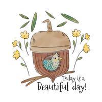 Oiseau mignon à l'intérieur de gland avec des feuilles et des fleurs qui tombent