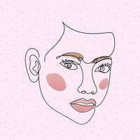 visage de femme de ligne avec deux yeux dans un fond rose