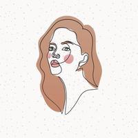 visage de femme de ligne avec des cheveux sur fond blanc