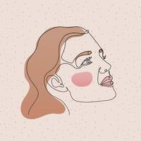 visage de femme ligne sur fond rose
