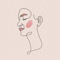 visage de femme de ligne dans un fond rose