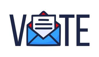 voter par illustration vectorielle de courrier. concept de sécurité pour l'élection présidentielle des États-Unis de 2020. modèle pour fond, bannière, carte, affiche avec inscription de texte.