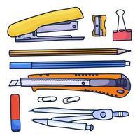 ensemble de papeterie de dessin animé dessiné à la main. illustration vectorielle de doodle. ensemble d'accessoires et de fournitures scolaires. composition des outils.