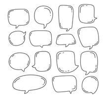 bulle de dialogue de collection ou éléments de chat en dessin animé croquis illustration vectorielle de bulle dessinée à la main