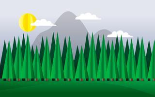 Forêt de pins abstraite avec montagne vecteur