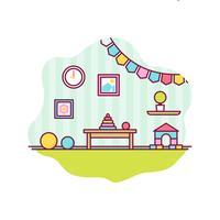 Vecteur de décor de chambre d'enfants