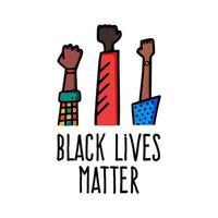 conception de bannière de vies noires avec illustration vectorielle de main poing américain africain