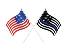 drapeau des États-Unis de vecteur avec ligne bleue pour honorer la police et la loi. arrière-plan, officier.