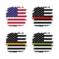 Ensemble de drapeau américain vecteur fine ligne - or, bleu, rouge, vert. un signe pour honorer et respecter les répartiteurs américains, les gardes de sécurité, la prévention des pertes, la police.