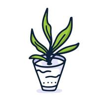main plante maison dessiner icône en style cartoon sur fond blanc. illustration vectorielle de doodle vecteur
