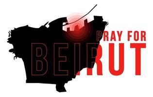 Prier pour l'illustration vectorielle de Beyrouth avec la carte de Beyrouth sur le concept de fond noir de la prière, le deuil, l'humanité pour l'explosion massive de Beyrouth Liban