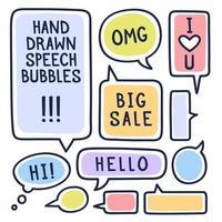 bulles de discours doodle dessinés à la main avec accentuation, remplis de coups de peinture et d'exemples de textes grande vente, bonjour, salut, je t'aime. illustration vectorielle.