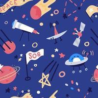 modèle sans couture de vecteur avec fusées, satellite, ovni, étoiles. fond de dessin animé plat style cosmos enfants