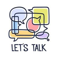 bulles de dialogue illustration vectorielle avec des icônes et du texte parlons sur fond blanc. concept de technologie de communication de sécurité. design plat mince ligne art de la technologie mobile
