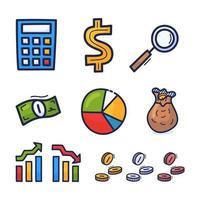 icônes d'investissement financier dessinés à la main. jeu d'icônes d'argent et de pièces de monnaie. concept financier et commercial. investir du capital dans les affaires.