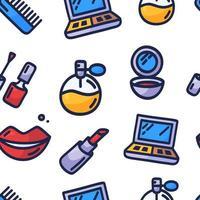 modèle sans couture cosmétique. Hand drawn cartoon doodle vector pattern avec des articles de maquillage - vernis à ongles, miroir, parfum, rouge à lèvres, pinceau à poudre, collier, mascara, palette