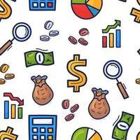définir le modèle sans couture de doodle dessiné main sur le thème des affaires. argent ou modèle daffaires vecteur