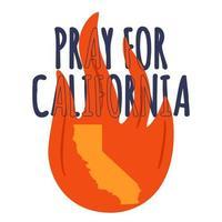 illustration à l'appui du sud de la californie après un incendie de forêt. carte de l'état de la californie, flamme et texte californie. vecteur