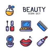 Ensemble d'icônes de dessin animé dessiné à la main de collection de cosmétiques, de beauté, de spa et de symboles faite dans un style vectoriel doodle. élément de design parfait pour la boutique de cosmétiques, un salon de coiffure, un centre de cosmétologie