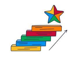 monte vers l'étoile. illustration vectorielle de doodle dessinée à la main avec des marches ou des escaliers au-dessus de laquelle est une icône de l'étoile. le chemin du succès et la réalisation des objectifs