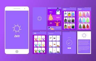Moslem Wear Boutique en ligne Mobile App Ui Vector