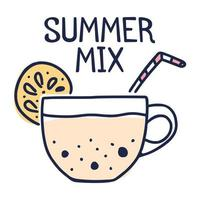 concept de mélange d'été. tasse à thé avec citron et thé au lait à bulles dessin animé vector illustration style doodle