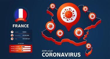 carte isométrique de la france avec illustration vectorielle de pays en surbrillance sur fond sombre. statistiques sur les coronavirus. 2019-nCoV vecteur