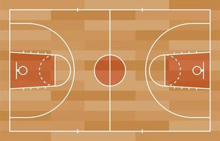 terrain de basket-ball avec ligne sur fond de texture bois. illustration vectorielle