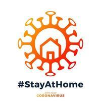 coronavirus écrit dans la conception d'affiche de typographie. sauver la planète du virus corona. restez en sécurité, restez à la maison. prévention du virus. vecteur