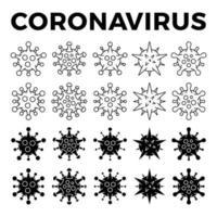 ensemble d'icône de différentes cellules virales. nouveau coronavirus 2019-ncov. virus covid 19-ncp. le coronavirus ncov désigné est un virus ARN simple brin. contour et illustration vectorielle de style solide.