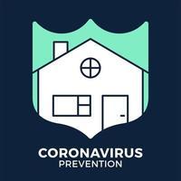 bannière rester à la maison icône de bouclier vs ou contre coronavirus concept protection covid-19 signe illustration vectorielle. Contexte de conception de prévention covid-19. vecteur